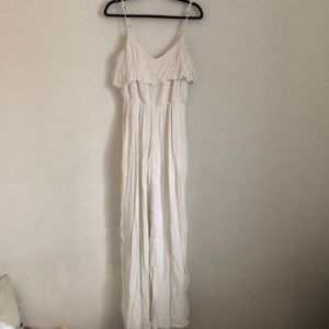 Soft White Wide Leg Jumpsuit with Elastic Waist